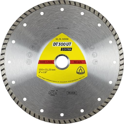 DT 300 UT Extra – Disc diamantat tip TURBO 230×2.5,ideal pentru tigla de acoperis,beton si alte materiale de santier